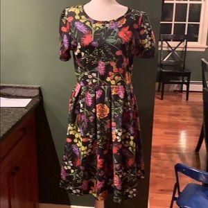 EUC Beautiful Black & Floral LuLaRoe Amelia Dress